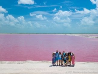 Pink lake at las coloradas, rio lagartos tour