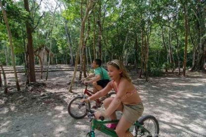 Bicycling in coba jungle