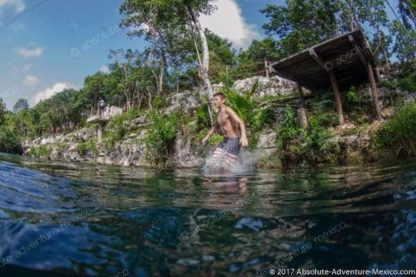 cliff jumping in cenote