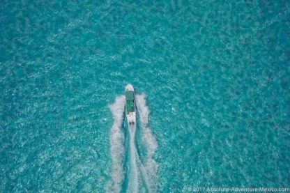 aerial view isla mujeres boat
